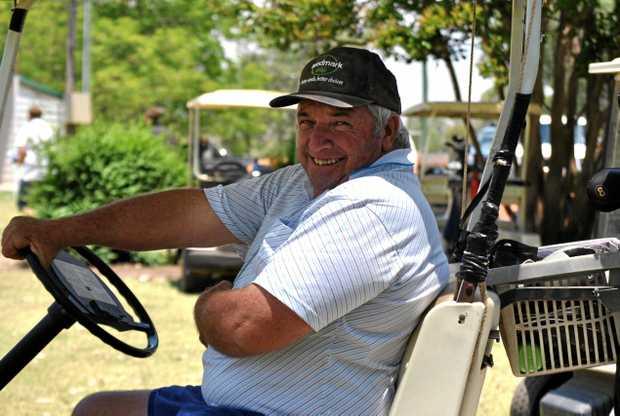 BANJO'S BUGGY: Bill 'Banjo' Bennett at the St George Golf Club a few years ago.