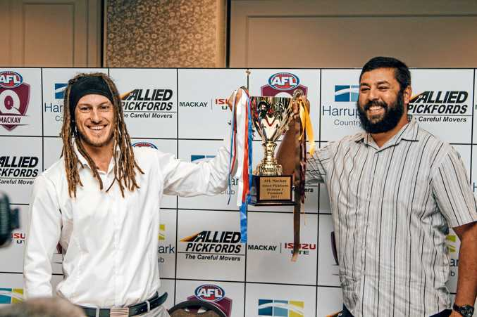 DOWN TO BUSINESS: Senior coaches of Whitsunday Sea Eagles and Mackay City Hawks, Luke Sommerville and Owen Battersby, were all smiles at this year's Senior Presentation night but it will be a different story on game day.