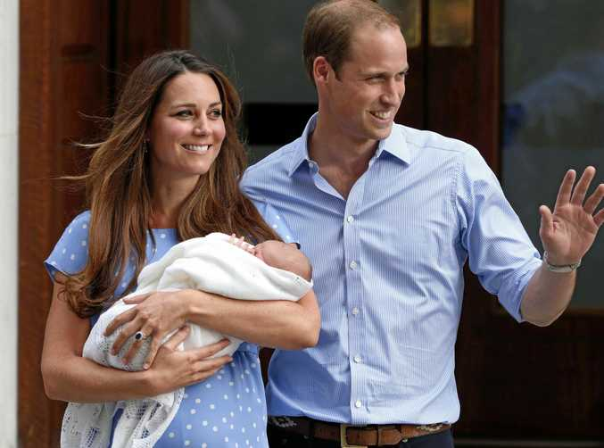 The Duchess of Cambridge, Kate and her husband Prince William with their newborn son George following his birth in 2013. They are expecting their third child.