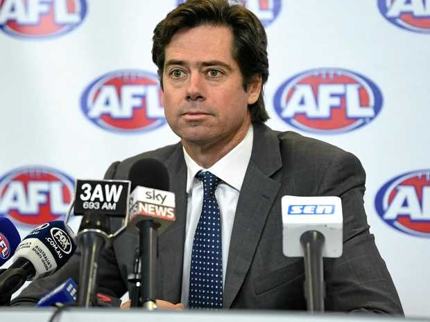 AFL chief executive Gillon McLachlan speaks to the media.