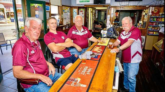 CAN'T WAIT: Fassifern club President Kent West, injured five-eighth Aaron Adcock and sponsors Frank Klan and Peter Hayes will be cheering the Bombers on. Photo: Billy Harsant