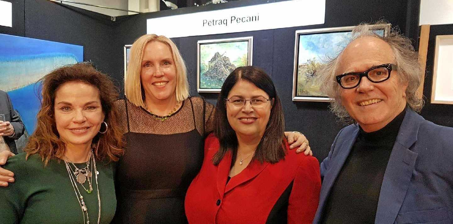 ART PRIZE: Actress Sigrid Thornton, Brisbane Art Prize founder and director Cathy Condon, Minster Grace Grace and Courier Mail Arts Editor Phil Brown.