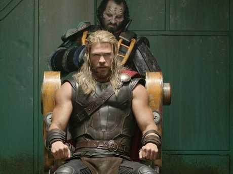 A scene from Thor: Ragnarok. Thor (Chris Hemsworth) is taken prisoner on Sakaar and will soon receive a hair cut. Picture: Marvel Studios