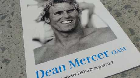The memorial card for Dean Mercer's funeral. Photo: Dwayne Grant