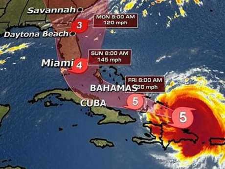 The expected path of Hurricane Irma. Picture: Fox NewsSource:Supplied