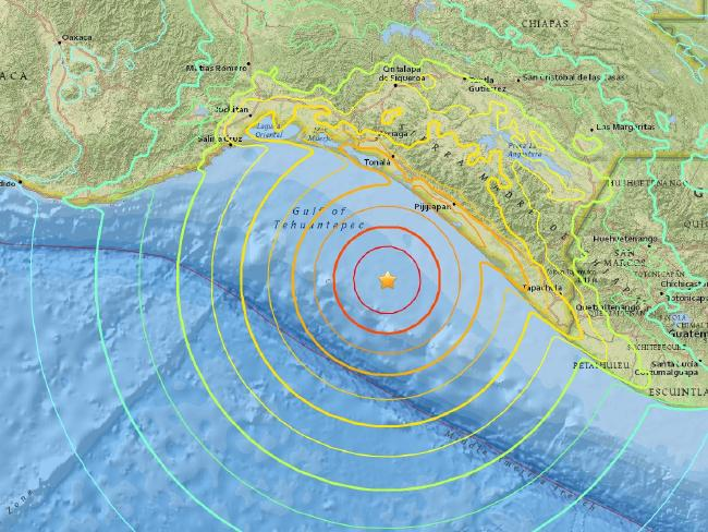USGS map depicting the intensity distribution of the magnitude 8 quake off MexicoSource:Supplied