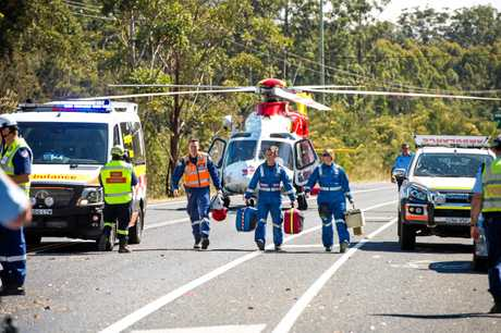 FLYING IN: The Westpac Life Saver Rescue Helicopter flew to the scene.