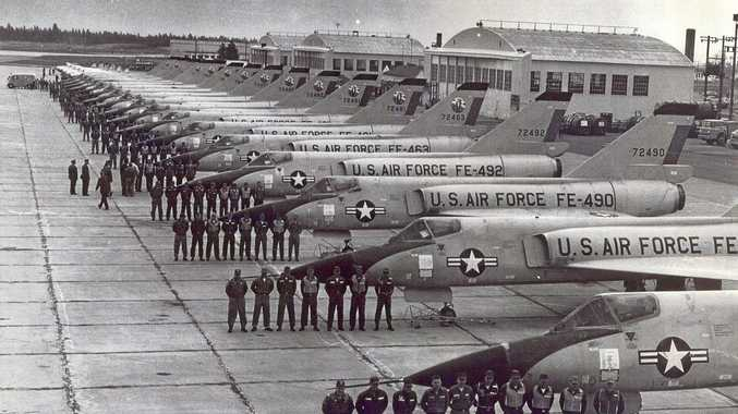 FINAL FORMATION: US Air Force personnel at Geiger Field US base, Washington in 1963.