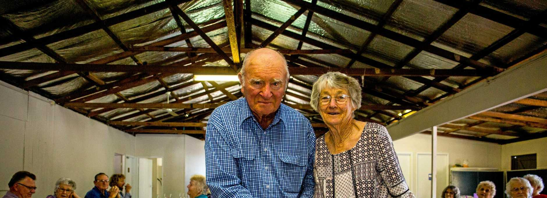 CHEERS: Bob and Shirley Blackburn celebrate their 60th wedding anniversary at Mothar Mountain Hall.