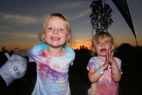 Poppy and Remy Kerr at the Proserpine colour run.