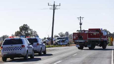 The crash scene on Murray Valley Highway, Tongala, where two people died. Photo by Luke Hemer/ Riverine Herald.