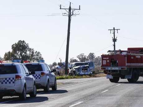 The crash scene on Murray Valley Highway, Tongala, where two people died. Photo by Luke Hemer/ Riverine Herald.