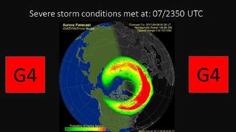 The NOAA warning of a G4 geomagnetic storm being observed.