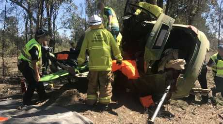 The Toowoomba-based RACQ LifeFlight Rescue helicopter airlifted a man to hospital in a critical condition after a crash south of Toowoomba on Saturday.