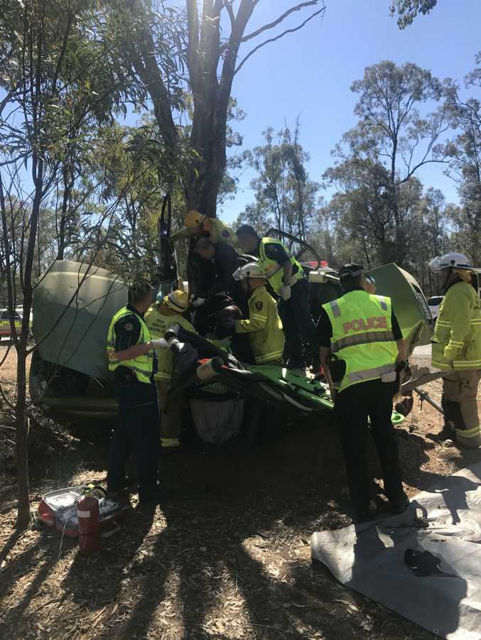 The Toowoomba-based RACQ LifeFlight Rescue helicopter airlifted a man to hospital in a critical condition after a crash south of Toowoomba on Saturday, September 9.
