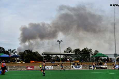 Smoke in the air as seen looking East from the Ipswich Hockey Complex at Raceview on Saturday.