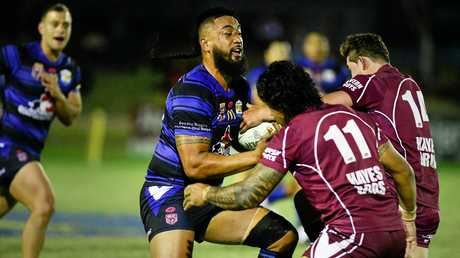 BIG T: Giant Goodna bench forward Taeao Kepu, known as Terry or Big T, charges ahead.