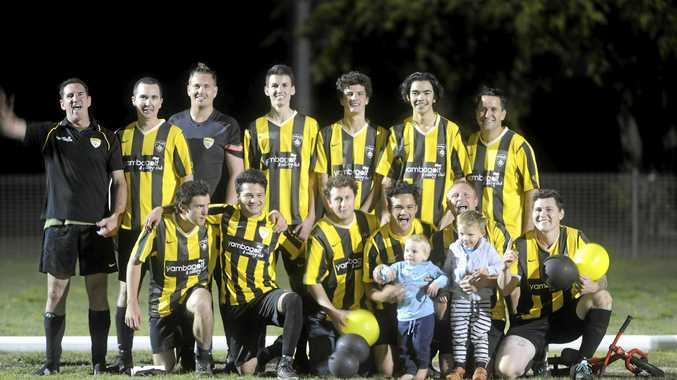 CHAMPIONS: Yamba Breakers celebrate after winning the Anytime Fitness Men's 2nd Division North grand final at Barry Watts Oval, Maclean.