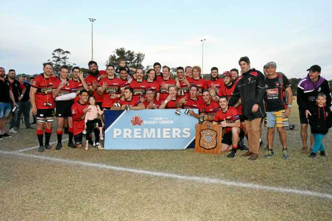 Wollongbar-Alstonville celebrate after winning a fourth straight premiership in FNC rugby union.
