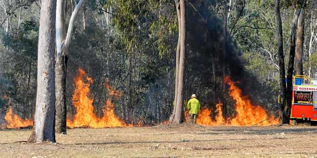 Fire fighters at the scene of a fire in bushland between Blackstone and Bundamba on Sunday.