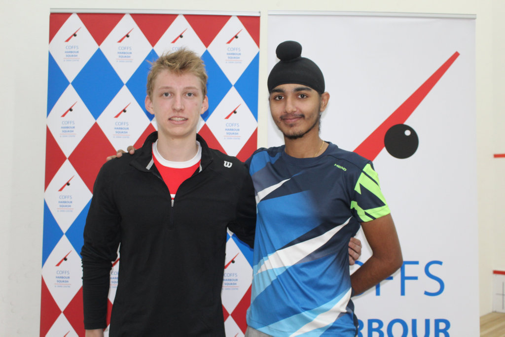 North Coast Men's Open winner Dimitri Steinmann (left) and runner-up Abhay Singh.