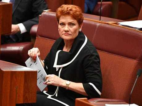 One Nation leader Senator Pauline Hanson during formal business in the Senate Chamber at Parliament House in Canberra, Thursday, September 7, 2017.