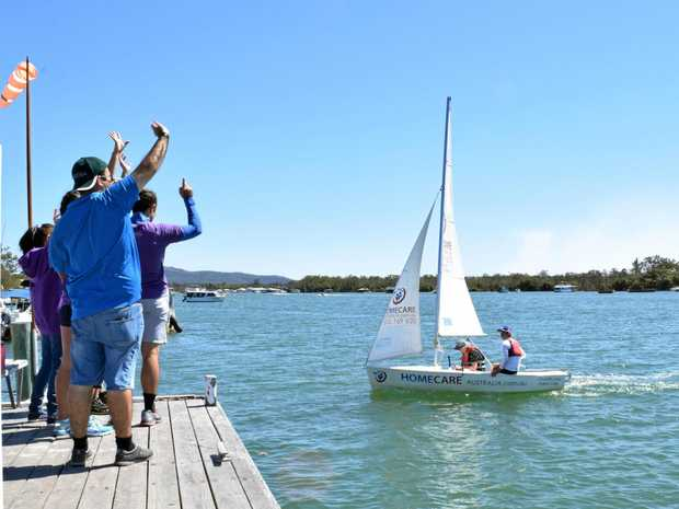 WELL DONE: People cheer on the winners at the Sailability regatta.