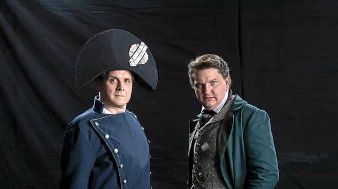 LES MIS: Lionel Theunissen (L) and Robert Shearer (R) as Inspector Javert and Jean Valjean.
