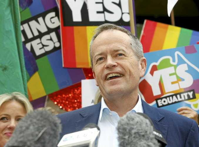 Federal Opposition Leader Bill Shorten speaks at a rally in support for marriage equality in Sydney. (AAP Image/Danny Casey)