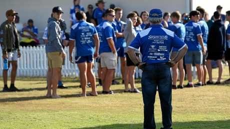 Wallaroos coach Peter Waters waits for his players to enter the field. Bundaberg Rugby League grand final: Wallaroos v Past Brothers at Salter Oval, Bundaberg.