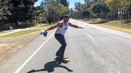 ROAD TO SUCCESS: Ramon Filipine, a man of many talents, on a skateboard.