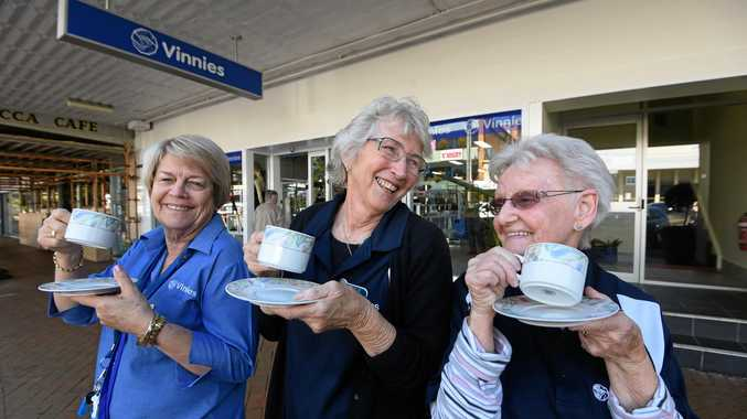 ALL SMILES: Vinnies Lismore shop day co-ordinator Noelene Geraghty with volunteer Pam Cordery, and day co-ordinator Pauline Buckland at the store.