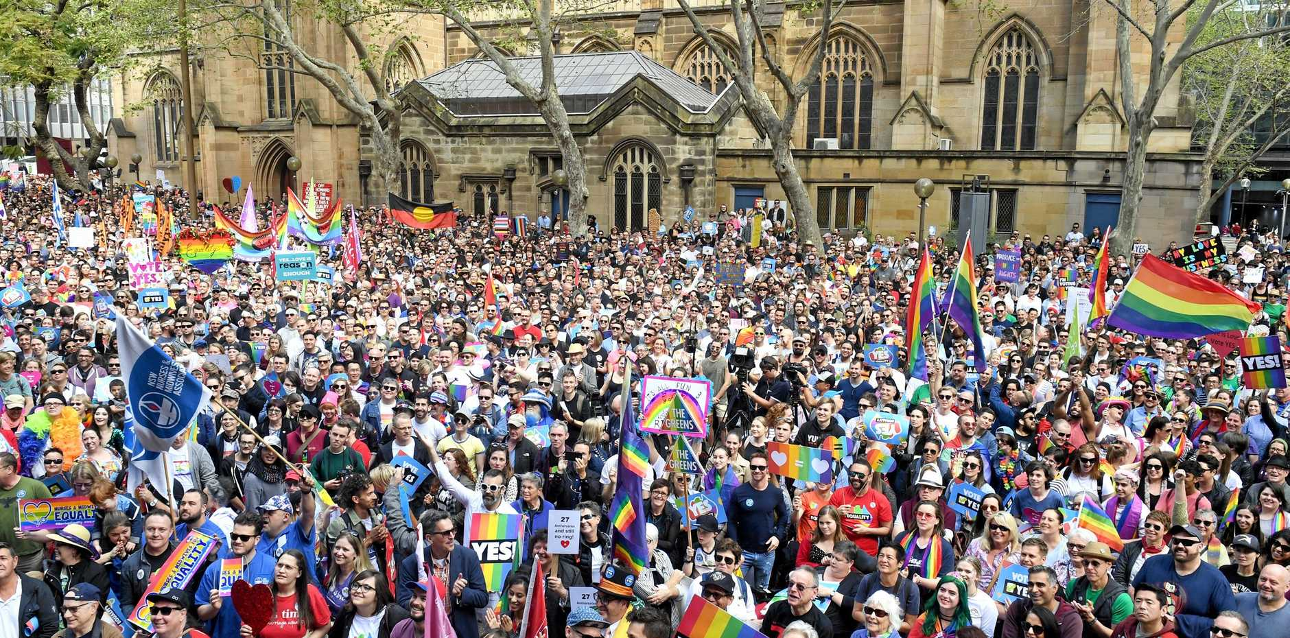 Supporters turn out for a marriage equality rally in Sydney on Sunday.