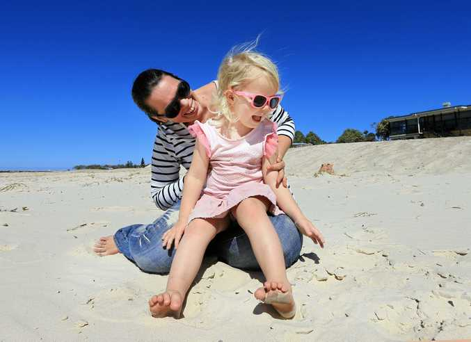 SUN-SAFE: Kristy Rigby from Babiators Sunglasses with daughter, Maxie, 4, wearing the product.