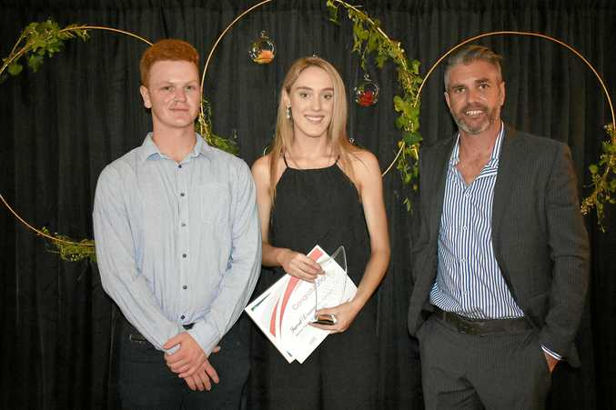 RECOGNISING THE BEST: Gympie Chamber of Commerce president Ben Riches (right) with last year's Trainees of the Year, Jarrod Clouston and Louise Lovell, from Heaven Leigh Cupcakes.