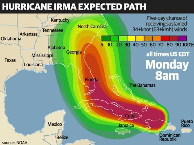 The expected path of Hurricane Irma