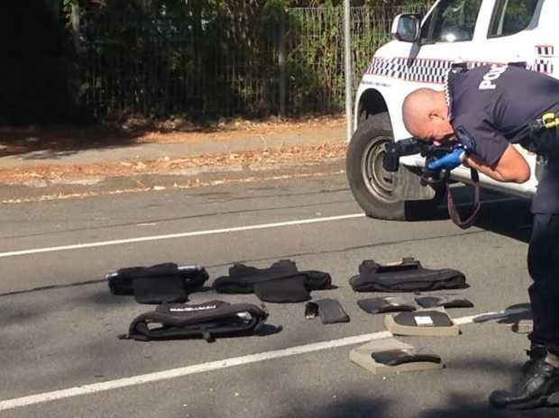 Police equipment being photographed, following a shooting incident in Woodridge, south of Brisbane.
