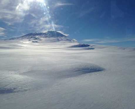 A view of Mt Erebus from a helicopter.