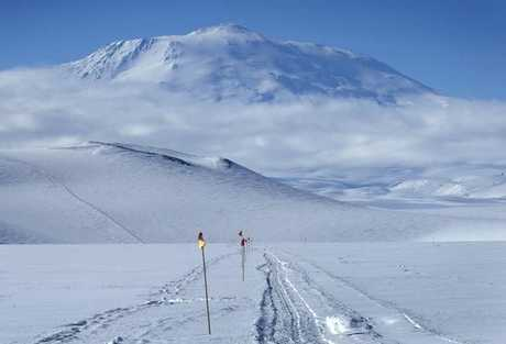 Antarctica's Mt Erebus, as seen from the Ross Ice Shelf.