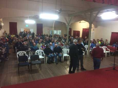 250 landholders cram into Southbrook Hall for John McVeigh meeting on Friday.