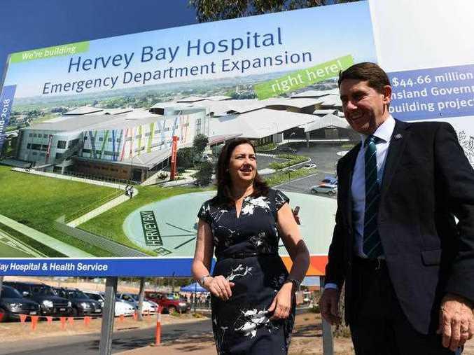 Queensland Premier Annastacia Palaszczuk and Health Minister Cameron Dick visit the Hervey Bay Hospital, . (AAP Image/Dan Peled)