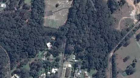An aerial view on Google Earth of Benaroon Drive, the cemetery and Batar Creek Road which may have been an escape route for Tyrrell's abductors.Source:Supplied