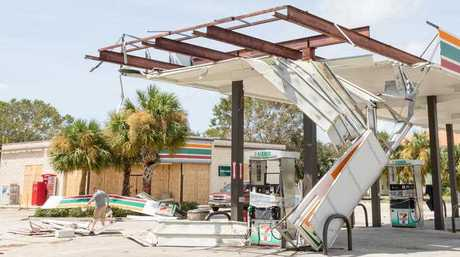A structure is damaged as seen on September 11, 2017 in Melbourne, United States as Hurricane Irma made landfall in Florida this weekend leaving streets flooded and structures damaged.