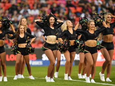 The Pantherette's cheerleader group perform ahead of kick off.