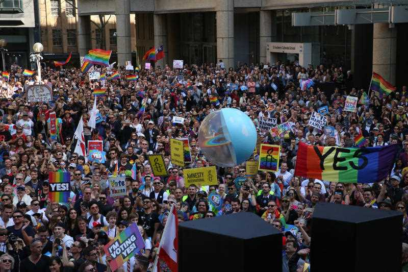 Thousands take to the streets of Sydney, Australia to march in support of same-sex marriage on September 10, 2017. They marched from Sydney Town Hall via Elizabeth Street to Customs House, Circular Quay in support of the 'Yes' campaign FOR the upcoming vote on same-sex marriage in Australia.
