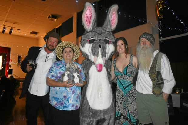 CEO of the Save the Bilby Fund Kevin Bradley, Annie Liston, Billie the Bilby, manager of the Bilby Experience in Charleville Alys Baxter and Peter McRae.