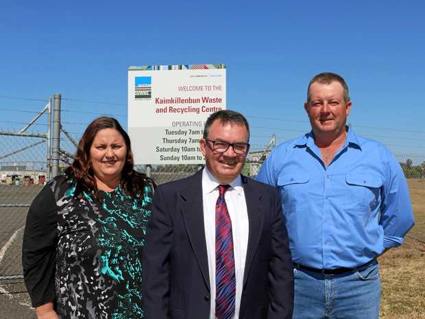 LOCAL OPPORTUNITY: Western Downs Councillor Andrew Smith with Kaimkillenbun couple Judie and Brad Myers.