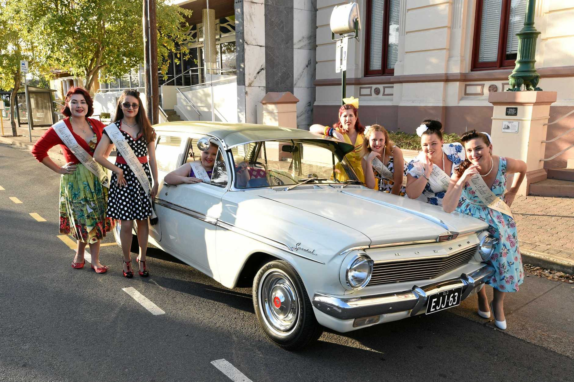 Rockin' Maryborough Vintage Festival - (L) Ivory Rose, Tilly Constantine, Ashleigh Moller, Camilla Perry, Seanna Jones, Hallie Mulherin and Amanda Biddle and a 1963 EJ Holden.