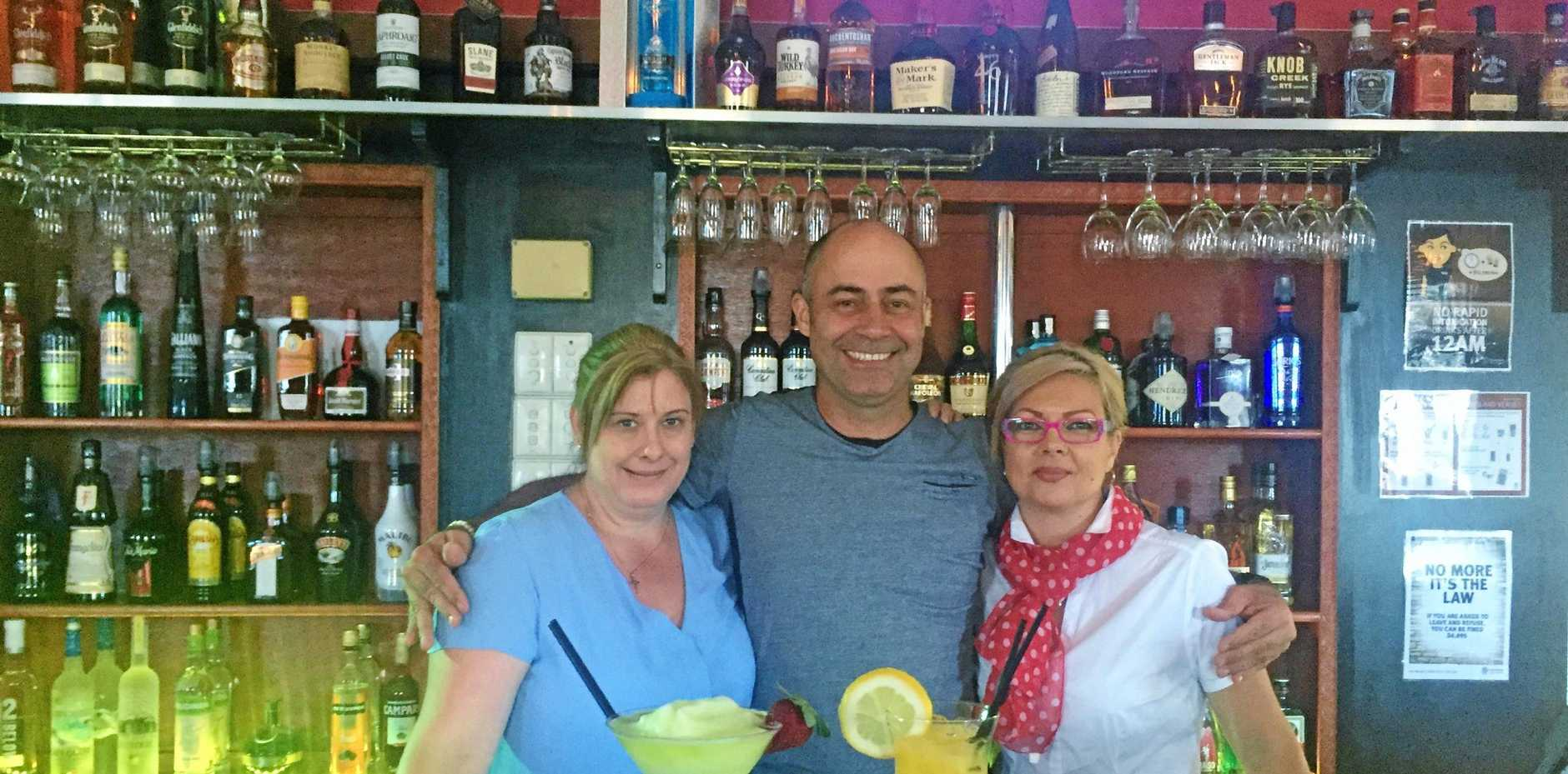 NEW VENUE: Lifelong friends and co-owners of Mackay's new 'Gallery Lounge and Bar', Cassie Bettridge, Martin Scriha, and Debbie Camilleri.