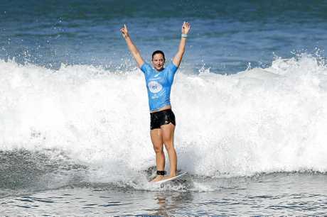 Tyler Wright of Australia winning the 2017 Oi Rio Women's Proat Saquarema in Rio de Janeiro.